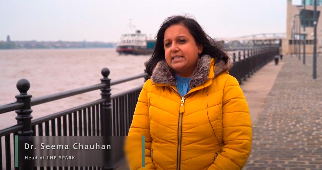 seema chauhan speaks by dockside in liverpool