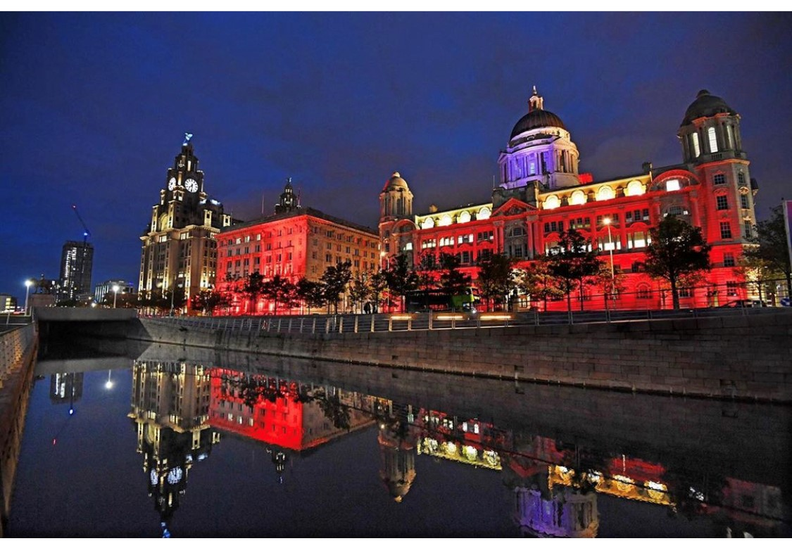 The Pier Head lit red for World Heart Day. Pic: Colin Lane, Liverpool Echo